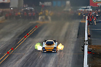 Jul. 25, 2014; Sonoma, CA, USA; NHRA funny car driver Del Worsham during qualifying for the Sonoma Nationals at Sonoma Raceway. Mandatory Credit: Mark J. Rebilas-