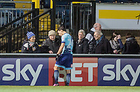 Scott Kashket of Wycombe Wanderers chats to supporters at full time during the Sky Bet League 2 match between Wycombe Wanderers and Newport County at Adams Park, High Wycombe, England on 2 January 2017. Photo by Kevin Prescod.