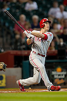 Philadelphia Phillies second baseman Chase Utley #26 swings during the Major League baseball game against the Houston Astros on September 16th, 2012 at Minute Maid Park in Houston, Texas. The Astros defeated the Phillies 7-6. (Andrew Woolley/Four Seam Images).
