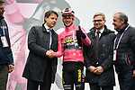 The Prime Minister Giuseppe Conte paid a visit to the Corsa Rosa today pictured with race leader Maglia Rosa Primoz Roglic (SLO) Team Jumbo-Visma and Mauro Vegni Director of the Giro d'Italia at sign on before Stage 5 of the 2019 Giro d'Italia, running 140km from Frascati to Terracina, Italy. 15th May 2019<br /> Picture: Gian Mattia D'Alberto/LaPresse | Cyclefile<br /> <br /> All photos usage must carry mandatory copyright credit (© Cyclefile | Gian Mattia D'Alberto/LaPresse)