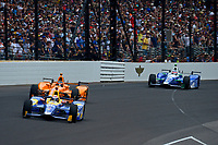 Verizon IndyCar Series<br /> Indianapolis 500 Race<br /> Indianapolis Motor Speedway, Indianapolis, IN USA<br /> Sunday 28 May 2017<br /> Alexander Rossi, Andretti Herta Autosport with Curb-Agajanian Honda, Fernando Alonso, McLaren-Honda-Andretti Honda, Takuma Sato, Andretti Autosport Honda<br /> World Copyright: F. Peirce Williams<br /> LAT Images