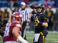 Hawgs Illustrated/BEN GOFF <br /> Taylor Powell, Missouri quarterback, throws a touchdown pass in the fourth quarter vs Arkansas Saturday, Nov. 29, 2019, at War Memorial Stadium in Little Rock.