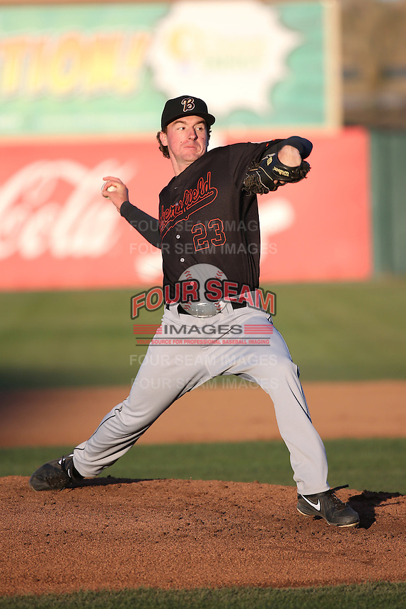 Andrew Moore (23) of the Bakersfield Blaze pitches against the Lancaster JetHawks at The Hanger on April 28, 2016 in Lancaster, California. Lancaster defeated Bakersfield, 5-4. (Larry Goren/Four Seam Images)