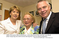 President Mary McAleece Dingle 24-7-0.President McAleece pictured with Beatrice O'Se and her son Paidi in her home in Ventry County Kerry after the president called for tea and scones during her visit toWest Kerry on Wednesday..Picture by Don MacMonagle