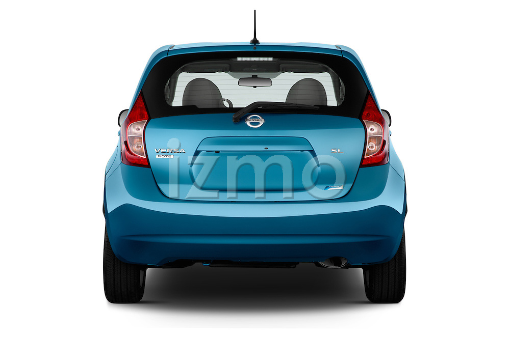Straight rear view of a 2014 Nissan Versa Note SV SL Hatchback 2014 Nissan Versa Note SV SL Hatchback