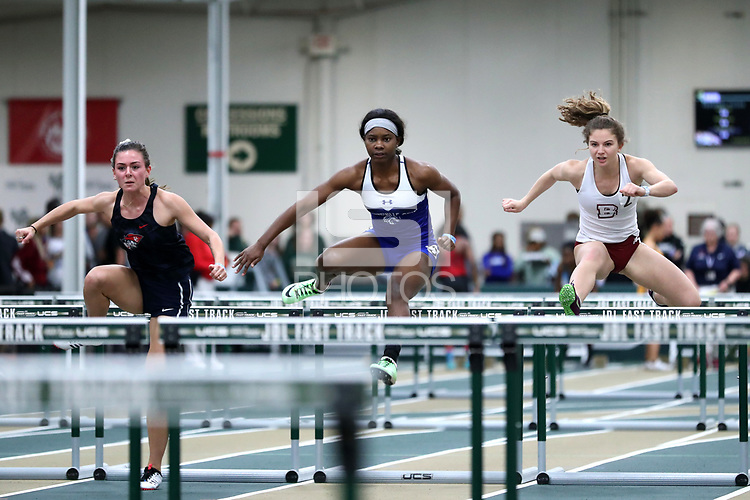 WINSTON-SALEM, NC - FEBRUARY 07: Micah Bernard #3 of Fayetteville State University leads Emily Valle #2 of Bridgewater College and Sarah Hunter #4 of Cumberlands University in the Women's 60m Hurdles at JDL Fast Track on February 07, 2020 in Winston-Salem, North Carolina.
