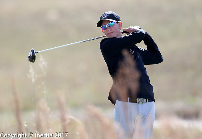 VALENTINE, NE - OCTOBER 3: Andrew McCormick from Creighton watches his tee shot on the 6th hole during the final round of the South Dakota State Invitational Tuesday at The Prairie Club in Valentine, NE. (Photo by Dave Eggen/Inertia)