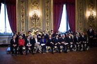 I neo ministri durante la cerimonia del giuramento del nuovo Governo Letta nel Salone delle Feste del Quirinale.