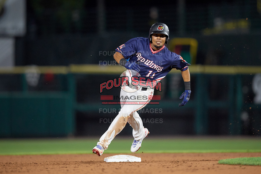 Rochester Red Wings left fielder LaMonte Wade (11) runs the bases during a game against the Pawtucket Red Sox on July 4, 2018 at Frontier Field in Rochester, New York.  Pawtucket defeated Rochester 6-5.  (Mike Janes/Four Seam Images)