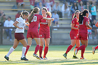 STANFORD, CA  – September 9, 2016: Stanford wins 4-1 over Minnesota at Cagan Stadium. Andi Sullivan celebrates Tierna Davidson's goal.