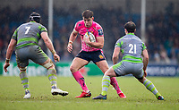 Exeter Cheifs' Ollie Devoto in action during todays match<br /> <br /> Photographer Bob Bradford/CameraSport<br /> <br /> Anglo Welsh Cup Semi Final - Exeter Chiefs v Newcastle Falcons - Sunday 11th March 2018 - Sandy Park - Exeter<br /> <br /> World Copyright &copy; 2018 CameraSport. All rights reserved. 43 Linden Ave. Countesthorpe. Leicester. England. LE8 5PG - Tel: +44 (0) 116 277 4147 - admin@camerasport.com - www.camerasport.com