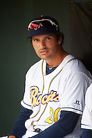 Montgomery Biscuits first baseman Patrick Leonard (20) before a game against the Jackson Generals on April 29, 2015 at Riverwalk Stadium in Montgomery, Alabama.  Jackson defeated Montgomery 4-3.  (Mike Janes/Four Seam Images)
