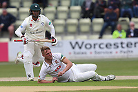 Jamie Porter of Essex takes a tumble during Worcestershire CCC vs Essex CCC, Specsavers County Championship Division 1 Cricket at Blackfinch New Road on 11th May 2018