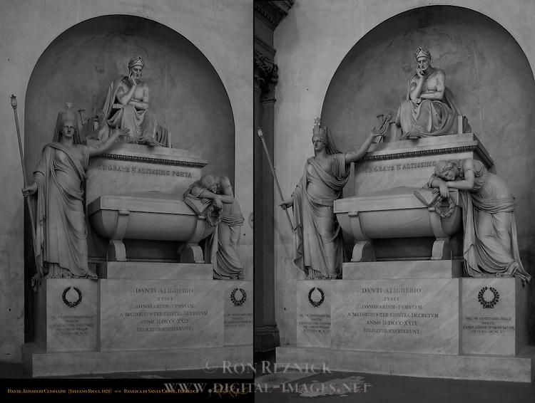 Cenotaph of Dante Alighieri Stefano Ricci 1829 Black and White Composite Image Santa Croce Florence