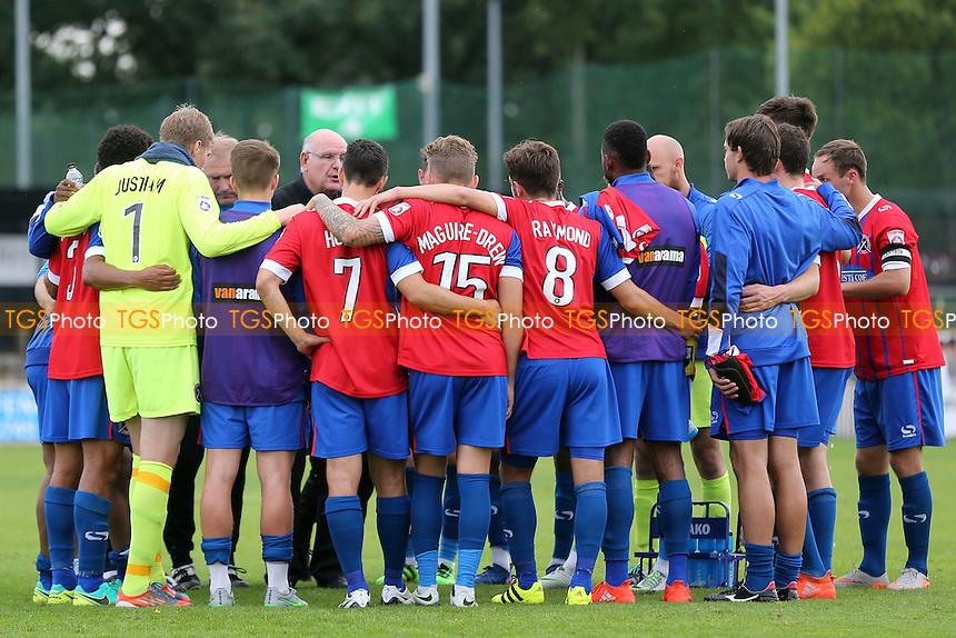 Dagenham players huddle after Bromley vs Dagenham and Redbridge, Vanarama National League Football at Hayes Lane on 24th September 2016