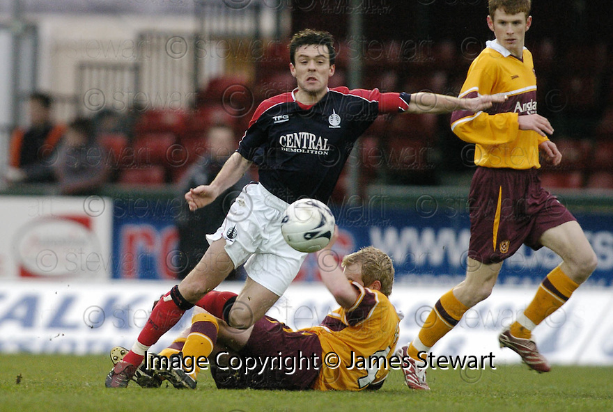 10/02/2007       Copyright Pic: James Stewart.File Name : sct_jspa04_falkirk_v_motherwell.STEVEN THOMSON IS CHALLENGED BY BRIAN KERR....James Stewart Photo Agency 19 Carronlea Drive, Falkirk. FK2 8DN      Vat Reg No. 607 6932 25.Office     : +44 (0)1324 570906     .Mobile   : +44 (0)7721 416997.Fax         : +44 (0)1324 570906.E-mail  :  jim@jspa.co.uk.If you require further information then contact Jim Stewart on any of the numbers above.........