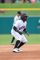 Indianapolis Indians center fielder Trayvon Robinson (6) during an International League game against the Columbus Clippers on April 30, 2019 at Victory Field in Indianapolis, Indiana. Columbus defeated Indianapolis 7-6. (Zachary Lucy/Four Seam Images)