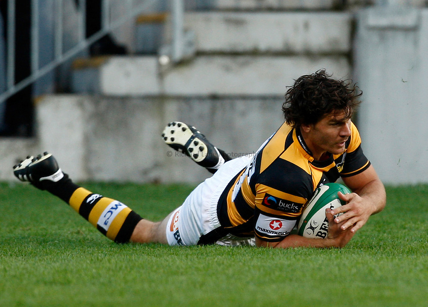 Photo: Richard Lane/Richard Lane Photography. Leinster v London Wasps. Pre Season Friendly. 20/08/2010. Wasps' Ben Jacobs scores a try.