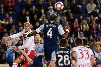 Harrison, NJ - Wednesday Feb. 22, 2017: Aurelien Collin, Kendall Waston during a Scotiabank CONCACAF Champions League quarterfinal match between the New York Red Bulls and the Vancouver Whitecaps FC at Red Bull Arena.
