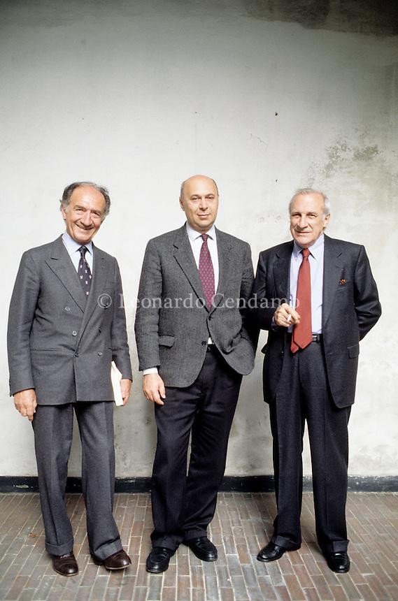 Piero Ottone, Paolo Mieli, Alberto Cavallari, Direttori del Corriere della Sera. Milan, april 1994. © Leonardo Cendamo