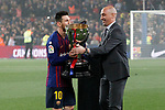 FC Barcelona's Leo Messi (l) celebrates the victory in La Liga 2018/2019 in presence of RFEF's President Luis Rubiales. April 27,2019. (ALTERPHOTOS/Acero)
