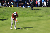 Sergio Garcia (Team Europe) takes his birdie putt on the 17th green during Saturday's Fourball Matches at the 2018 Ryder Cup 2018, Le Golf National, Ile-de-France, France. 29/09/2018.<br /> Picture Eoin Clarke / Golffile.ie<br /> <br /> All photo usage must carry mandatory copyright credit (© Golffile | Eoin Clarke)