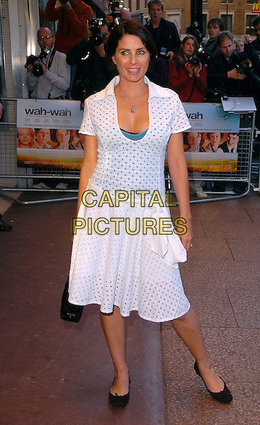 "SADIE FROST.Arrivals at the UK Film Premiere of ""Wah Wah"", .Odeon Leicester Square, London, England, .May 30th 2006..full length white dress .Ref: CAN.www.capitalpictures.com.sales@capitalpictures.com.©Can Nguyen/Capital Pictures"