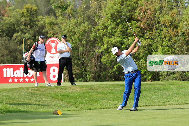 Playing with Richie Ramsey (ENG) on the 8th tee during the Pro-Am of the Open de Espana  in Club de Golf el Prat, Barcelona on Wednesday 13th May 2015.<br /> Picture:  Thos Caffrey / www.golffile.ie