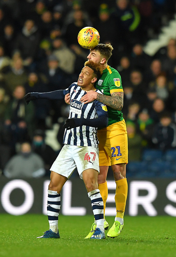 Preston North End's Patrick Bauer battles with West Bromwich Albion's Callum Robinson<br /> <br /> Photographer Dave Howarth/CameraSport<br /> <br /> The EFL Sky Bet Championship - West Bromwich Albion v Preston North End - Tuesday 25th February 2020 - The Hawthorns - West Bromwich<br /> <br /> World Copyright © 2020 CameraSport. All rights reserved. 43 Linden Ave. Countesthorpe. Leicester. England. LE8 5PG - Tel: +44 (0) 116 277 4147 - admin@camerasport.com - www.camerasport.com
