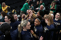 WINSTON-SALEM, NC - FEBRUARY 06: The University of Notre Dame players huddle in the tunnel during a game between Notre Dame and Wake Forest at Lawrence Joel Veterans Memorial Coliseum on February 06, 2020 in Winston-Salem, North Carolina.