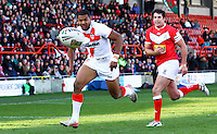 PICTURE BY ALEX WHITEHEAD/SWPIX.COM - Rugby League - Autumn International Series - Wales vs England - Glyndwr University Racecourse Stadium, Wrexham, Wales - 27/10/12 - England's Kallum Watkins chases down the ball.