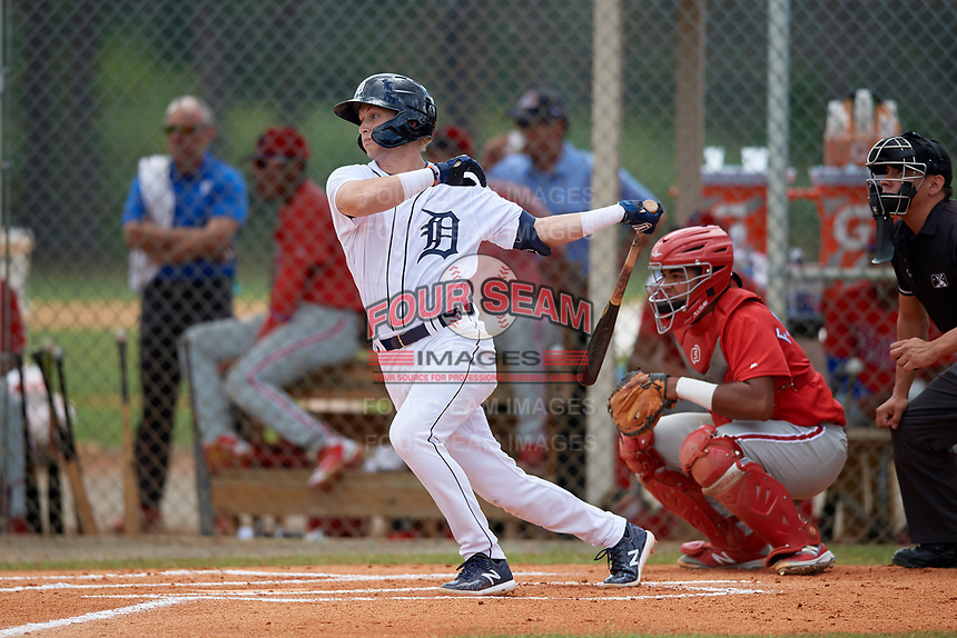Detroit Tigers Corey Joyce (28) at bat during an Instructional League game against the Philadelphia Phillies on September 19, 2019 at Tigertown in Lakeland, Florida.  Catching is Freddy Francisco.  (Mike Janes/Four Seam Images)