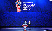 25.07.2015. St Petersburg, Russia.  Russian President Wladimir Putin (L) and FIFA President Joseph S. Blatter stand on stage during the Preliminary Draw of the FIFA World Cup 2018 in St. Petersburg, Russia, 25 July 2015. St. Petersburg is one of the host cities of the FIFA World Cup 2018 in Russia which will take place from 14 June until 15 July 2018.