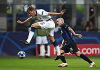 Football Soccer: UEFA Champions League FC Internazionale Milano vs Tottenham Hotspur FC, Giuseppe Meazza stadium, September 15, 2018.<br /> Tottenham's Jan Vertonghen (l) in action with Inter's Radja Nainggolan (r) in action during the Uefa Champions League football match between Internazionale Milano and Tottenham Hotspur at Giuseppe Meazza (San Siro) stadium, September 18, 2018.<br /> UPDATE IMAGES PRESS/Isabella Bonotto