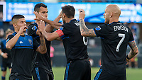 San Jose, CA - Tuesday June 11, 2019: Earthquakes players celebrate the Magnus Eriksson #7 goal during the US Open Cup match between the San Jose Earthquakes and Sacramento Republic FC at Avaya Stadium.