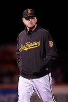 San Jose Giants pitching coach Matt Yourkin (16) during a California League game against the Visalia Rawhide on April 12, 2019 at San Jose Municipal Stadium in San Jose, California. Visalia defeated San Jose 6-2. (Zachary Lucy/Four Seam Images)