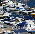 Boats moored at jetty, Tenerife, Canary Islands, Spain.
