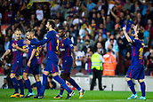9th September 2017, Camp Nou, Barcelona, Spain; La Liga football, Barcelona versus Espanyol; Leo Messi from Argentina of FC Barcelona celebrates the 0-1