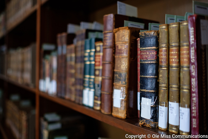 Many old books are shelved within the Harrison Room in the J. D. Williams Library. Photo by Robert Jordan/Ole Miss Communications