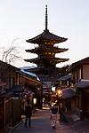 Tourists take pictures of the Yasaka Pagoda in the Higashiyama District of Kyoto on January 16, 2016, in Kyoto, Japan. The Japan National Tourism Organization reported on Tuesday a record increase in foreign visitors in 2015. Approximately 19.73 million people visited Japan from abroad, up 47.3 percent compared with 2014 and almost four times the 5.21 million that came in 2003. According to the report there were more Chinese visitors than from any other nation with 4.99 million coming in 2015. South Korea (4 million) and Taiwan (3.67 million) were next on the list, and over 1 million Americans also visited Japan in 2015. The number of visitors is the highest in 45 years and already close to Japan's goal of attracting 20 million foreign visitors in a year by 2020. (Photo by Rodrigo Reyes Marin/AFLO)