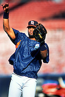 Tony Clark of the Detroit Tigers during a game at Anaheim Stadium in Anaheim, California during the 1997 season.(Larry Goren/Four Seam Images)