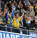 James Constable of Oxford United lifts the trophy after victory in the Blue Square Premier play-off final between Oxford United and York City at Wembley Stadium, London on 16th May,2010.© Kevin Coleman 2010