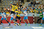 GER - Mannheim, Germany, September 23: Players warm-up before the DKB Handball Bundesliga match between Rhein-Neckar Loewen (yellow) and TVB 1898 Stuttgart (white) on September 23, 2015 at SAP Arena in Mannheim, Germany.  Harald Reinkind #27 of Rhein-Neckar Loewen, Rafael Baena Gonzalez #16 of Rhein-Neckar Loewen, Dominik Weiss #6 of TVB 1898 Stuttgart<br /> <br /> Foto &copy; PIX-Sportfotos *** Foto ist honorarpflichtig! *** Auf Anfrage in hoeherer Qualitaet/Aufloesung. Belegexemplar erbeten. Veroeffentlichung ausschliesslich fuer journalistisch-publizistische Zwecke. For editorial use only.