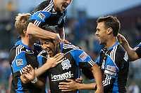 San Jose Earthquakes celebrate with Justin Morrow (center) after his goal. The Chicago Fire defeated the San Jose Earthquakes after going 5-4 on penalty kicks, after a 2-2 score in regulation during the US Open Cup at Buck Shaw Stadium in Santa Clara, California on May 24th, 2011.
