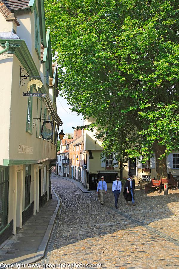 Historic buildings in Elm Hill cobbled lane street, Norwich, Norfolk, England, UK