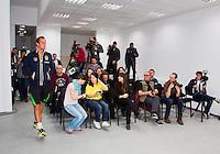 03-04-13, Tennis, Rumania, Brasov, Daviscup, Rumania-Netherlands, Press conference, Jean-Julien Rojer   Thiemo de Bakker  Igor Sijsling  Robin Haase