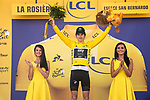 Geraint Thomas (WAL) Team Sky wins Stage 11 and takes over the race leaders Yellow Jersey of the 2018 Tour de France running 108.5km from Albertville to La Rosiere Espace San Bernardo, France. 18th July 2018. <br /> Picture: ASO/Pauline Ballet | Cyclefile<br /> All photos usage must carry mandatory copyright credit (&copy; Cyclefile | ASO/Pauline Ballet)