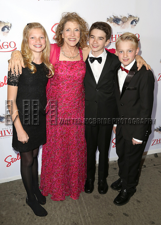 Lucy Simon with her grandchildren attends the Broadway Opening Night Performance of  'Doctor Zhivago'  at  The Broadway Theatre on April 21, 2015 in New York City.