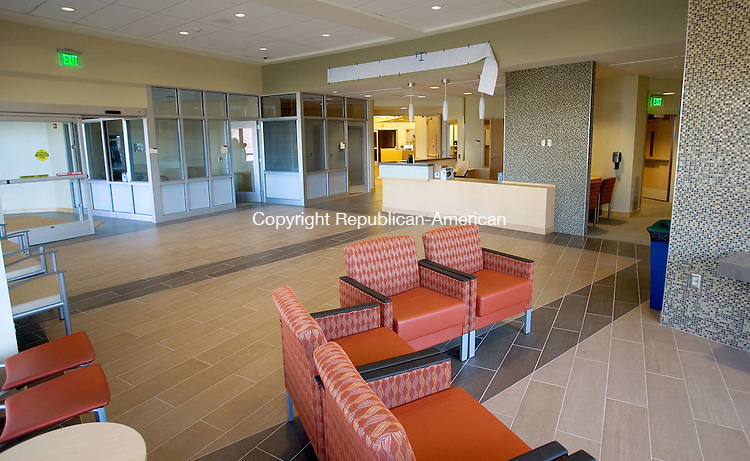 NEW MILFORD CT. 28 April 2015-042815SV07-This is a view of the newly renovated waiting room in the Arnhold Emergency Department at New Milford Hospital in New Milford Tuesday. The hospital renovated the department and plans a ribbon-cutting event May 8 to dedicate the facility. <br /> Steven Valenti Republican-American