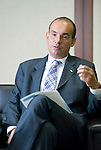 Michael C Woodford, president and COO of Olympus Corp., talks during an interview at the company's headquarters in Tokyo, Japan on 29 Aug. 2011.